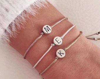Monogram initial bracelet, Personalized bracelet, Letter bracelet, Bridesmaid gifts, Friendship custom bracelet, Gift jewelry