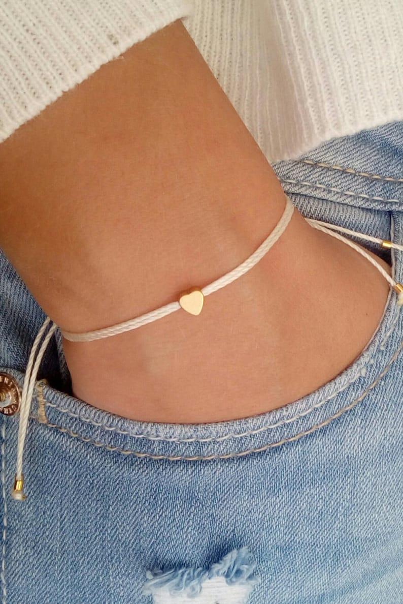 Tiny heart bracelet Wish bracelet Gold bracelet Friendship image 0