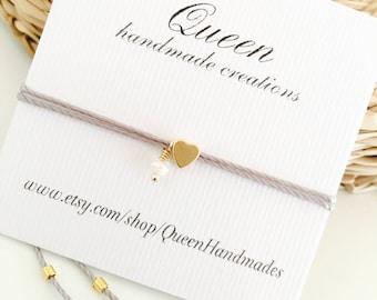 Tiny heart bracelet, Friendship bracelet, Bridesmaid gift, Freshwater pearl bracelet