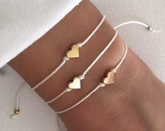 Heart bracelet, Friendship bracelet, Bridesmaid gift, Flower girl bracelet, BFF, Love bracelet, Wish bracelet