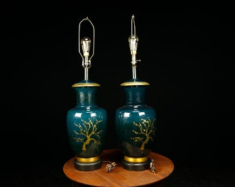 Midcentury modern XL hand painted ginger jar lamps