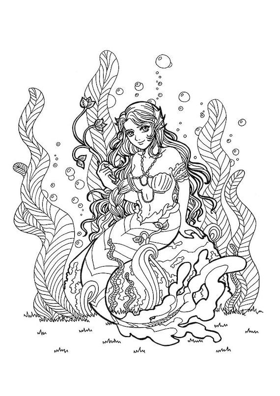 Meerjungfrau Ausmalen Meerjungfrau Erwachsene Ausmalen Etsy