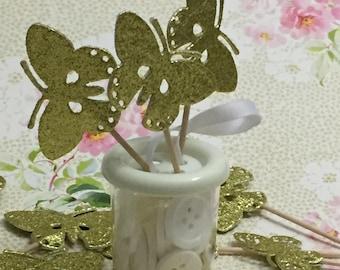 Butterfly Cupcake Topper, Glitter Cupcake Topper, Gold Butterfly Cupcake Topper, Gold Glitter Butterfly, Gold Glitter Butterflies Toppers