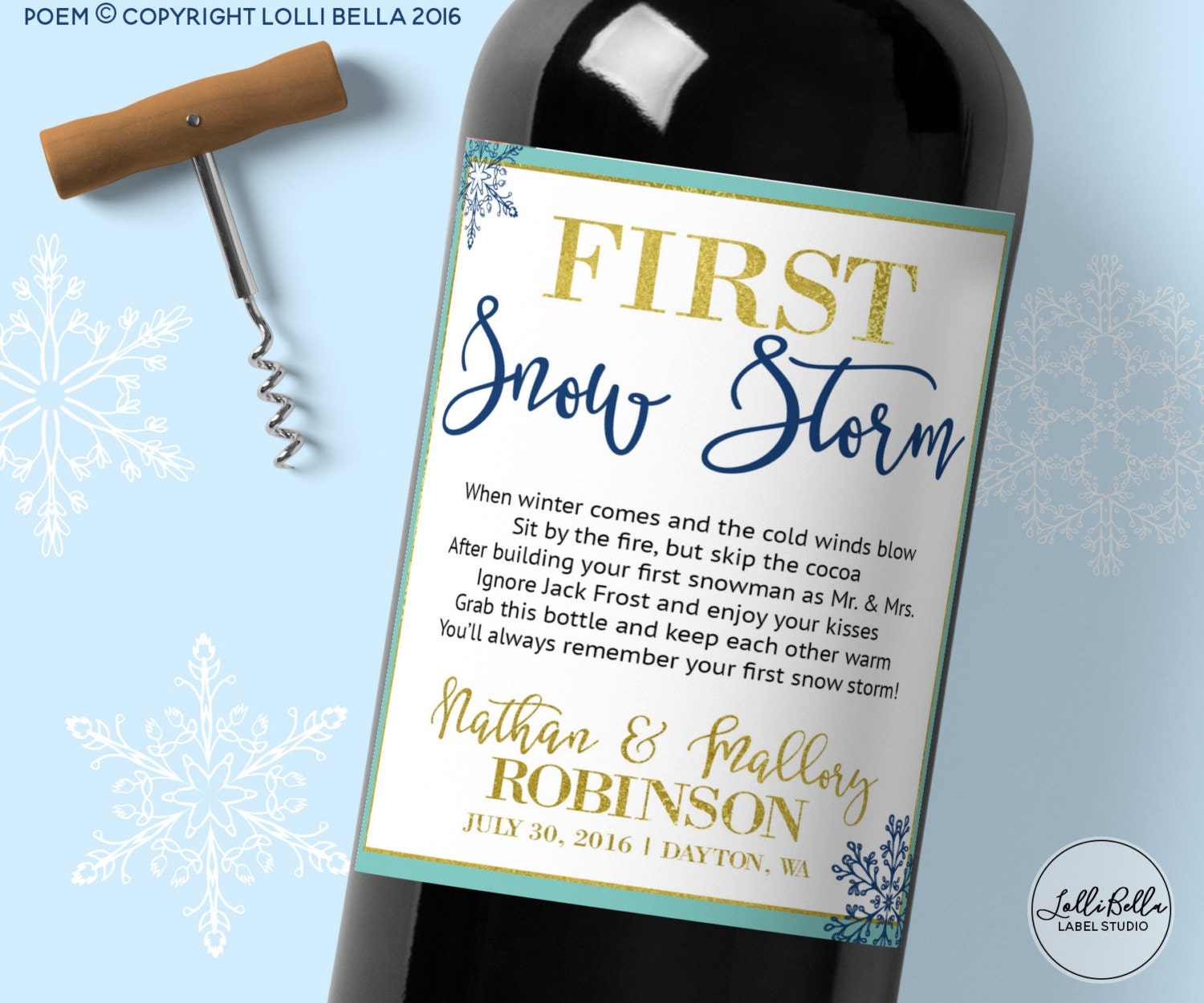 First Snow Winter Wedding Milestones Labels Wine Labels Etsy
