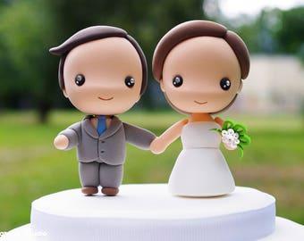 Wedding Cake Topper Kawaii Bride And Groom Anime Chibi Etsy