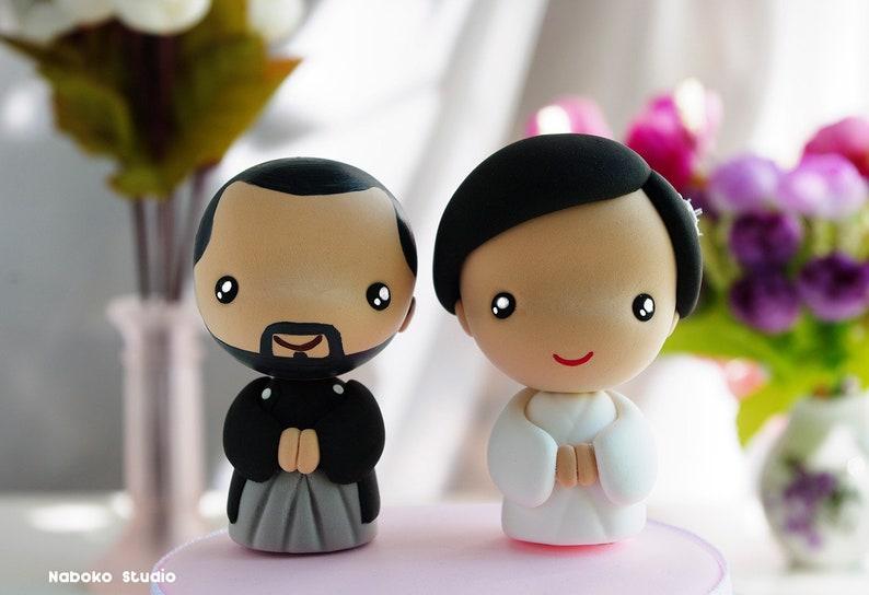 Japanese Style Wedding Cake Topper Bride And Groom Kawaii Etsy