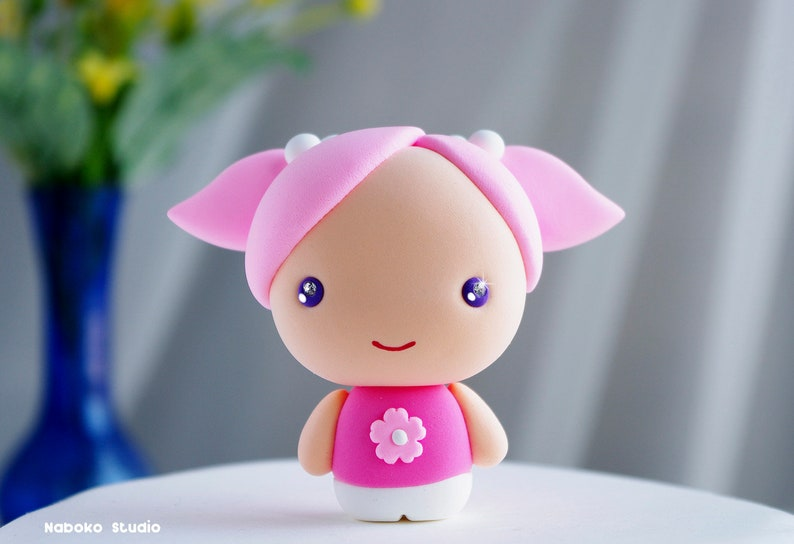 Birthday Cake Topper  Chibi Girl Figurine with Pink Dress and Hair  Collectible Toy