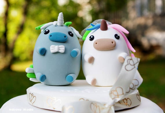 Items Similar To Unicorns Wedding Cake Topper Kawaii Unicorn