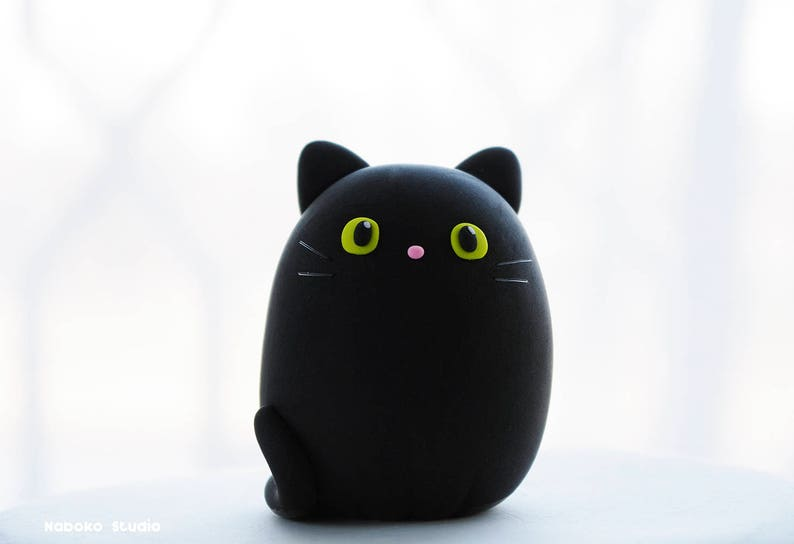 Birthday Cake Topper Black Bombay Cat Figurine Cute Egg