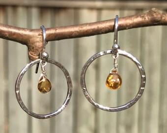 Tourmaline earrings, sterling silver earrings, dangling earrings, eternity circle earrings, spring jewelry, gift for her, handmade jewelry