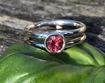 Size 9.25 Gemstone blue pink handmade jewelry 18k yellow gold and Sterling silver Ring Lotus Garnet READY TO SHIP