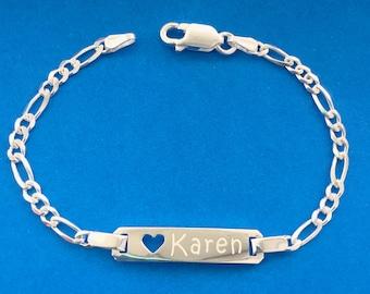 """925 Sterling Silver Personalised Ladies Curb ID Pave Bracelet7.5/"""" FREE ENGRAVING"""