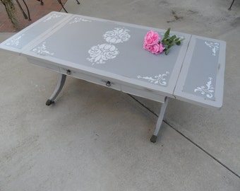vintage drop leaf table grey coffee table painted gray antique table vintage furniturecoffee table with drawerantique wood table - Antique Wood Coffee Tables