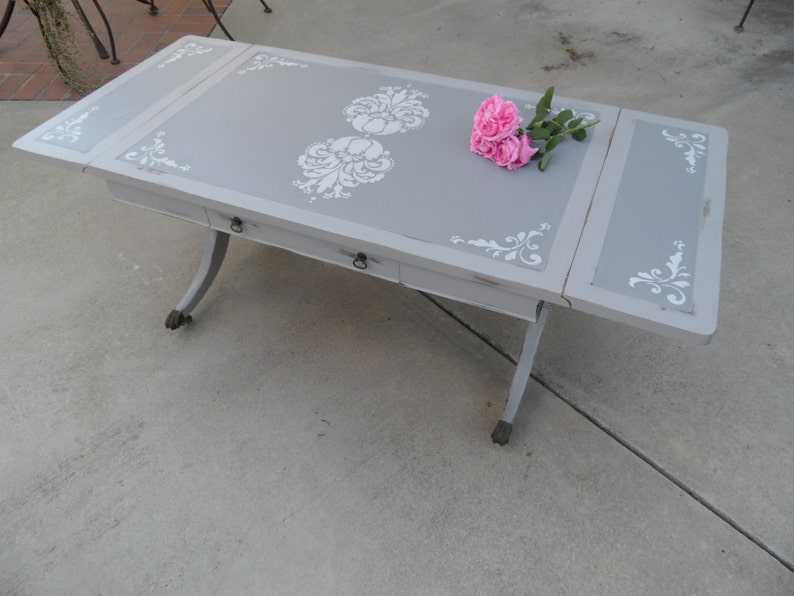 Vintage Drop Leaf Table Grey Coffee Table Painted Gray Etsy