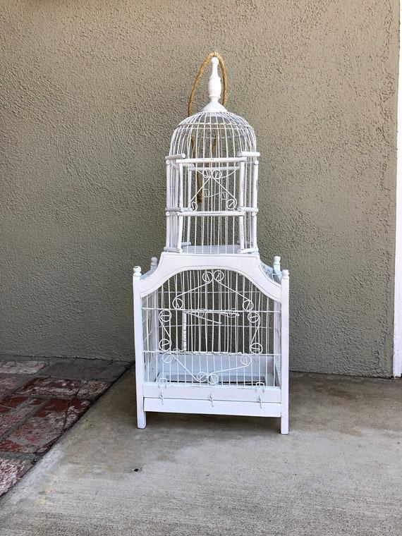 Vintage Wood Bird Cage, Large White Bird Cage, Wedding Card Holder, Wedding  Centerpiece, Antique White Wood Hanging Bird Cage, Decorative