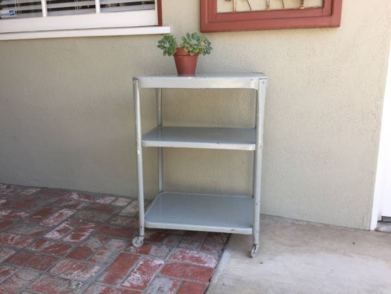Metal Rolling Cart, 3 Tier Table With Wheels, Chippy Paint Bar Cart,  Vintage Kitchen Cart, Grey Metal Kitchen Island, Industrial Metal Table