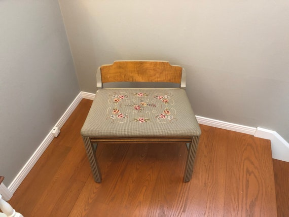Awe Inspiring Vintage Wood Bench Needle Point Antique Chair Art Deco Bench With Low Back Wood Needle Point Chair Entry Seating Piano Bench Uwap Interior Chair Design Uwaporg