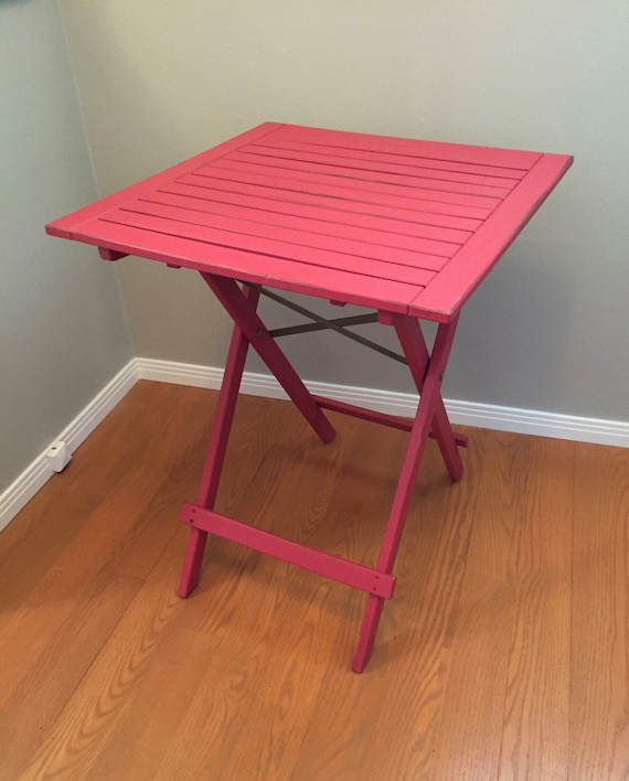 SALE Red Painted Table, Collapsible Wood Tall Outdoor/Indoor Distressed  Table, Patio Table, Outside Furniture, Garden Furniture, PatioTable