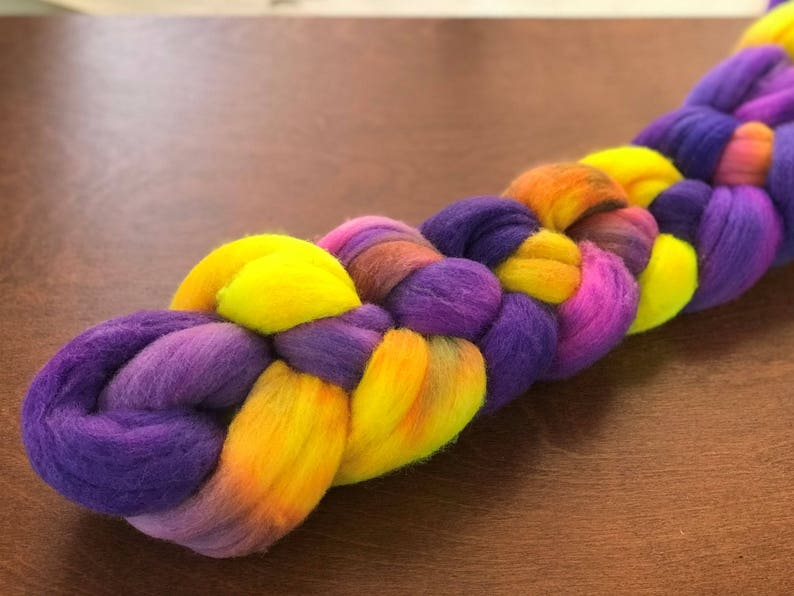 /'Baaarbara/' Hand painted roving 3.5 oz Fine Merino combed top for spinning or felting