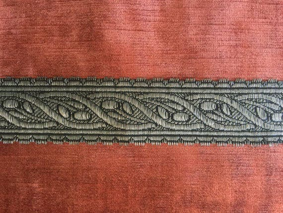 """Antique  French Metallic Silver Trim Border 3//8/"""" wide Made in France BTY"""