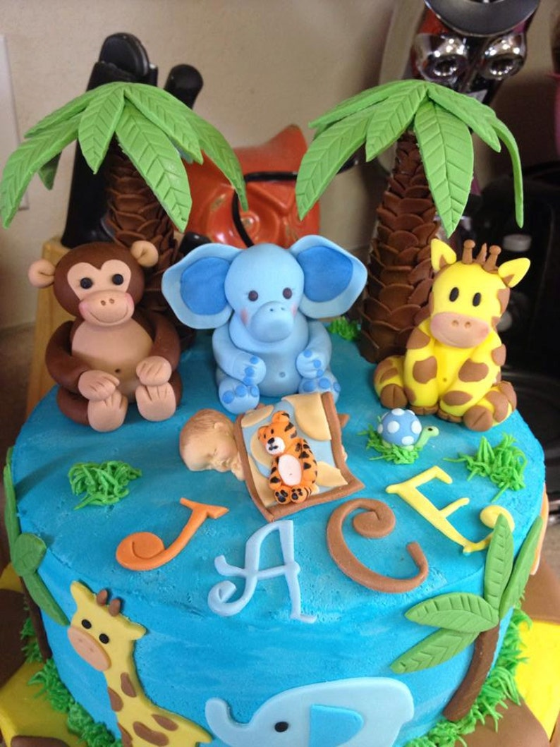 Jungle Animal Cake Toppers Fondant Animals