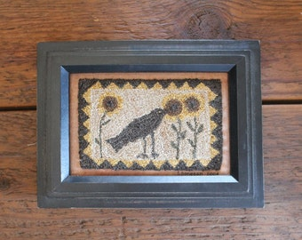 Lisa Bongean handmade Primitive Crow Needle Punch Home Decor with Frame This is hand signed by Lisa Bongean