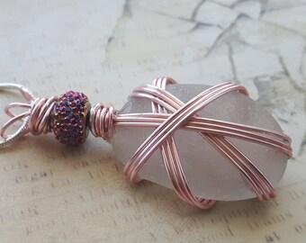 White Sea Glass Pendant Necklace, Pink Wire Wrapped Sea Glass, Real Sea Glass Pendant, Made in Newfoundland Pendant, Pink Wire Pendant