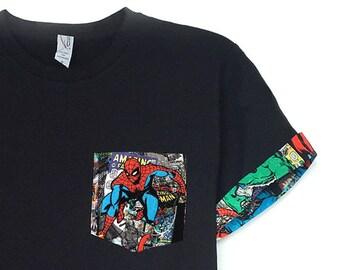 Marvel Shirt, Spiderman Shirt, Spiderman Pocket Roll-up T-Shirt, Avengers T-shirt, Super Hero T-shirt, Spiderman Pocket Shirt