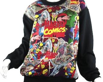 SALE! Marvel Comic Patched Fleece Sweatshirt, Super Hero Patched Sweatshirt, Marvel Crew Sweatshirt, Super Hero Sweatshirt