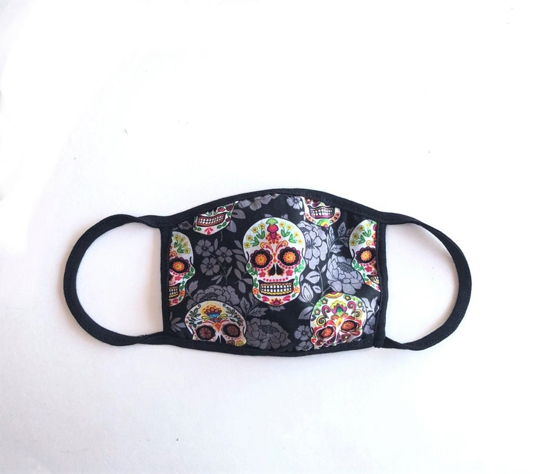 Sugar Skull Face Mask Day of the Dead Face Mask Reversible #1 Sugar Skull