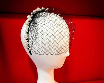 Black birdcage ,birdcage veil, fascinator, wedding birdcage veil, veil headband , birdcage headband