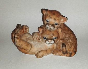 85f1674c60a8 Shiro Mizuko CURIOUS COUGARS Figurine (Signed) ~ Adorable Cougar Cubs -  Homco Masterpiece Porcelain
