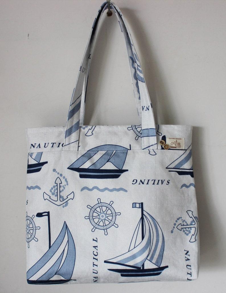 Handmade Shopping Bag Shoulder Bag Large Bag Ramie Cotton Sailing Boat  1615