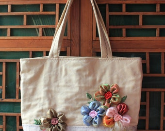 Handmade Silk Ribbon Embroidery Bag Shoulder bag Ramie cotton Shopping bag   11-07