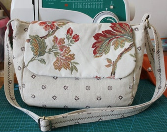 Handmade Handbag Ramie Cotton Message Bag Flower Sling Bag   1620