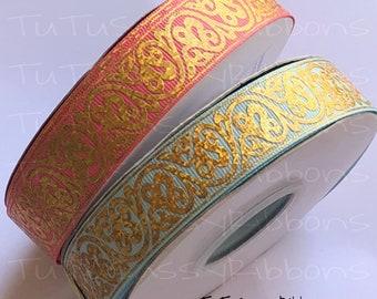 "7/8"" USDR foil gold swirls grosgrain printed ribbon"