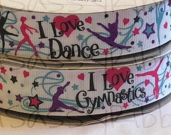 "7/8"" USDR I love dance I love gymnastics grosgrain printed ribbon by the yard"