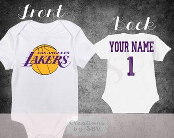 40ef08a5b Los Angeles Lakers customize White baby bodysuit