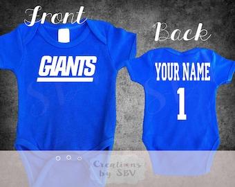 New York Giants customize baby bodysuit, Giants Football bodysuit, Cute Giants Bodysuit