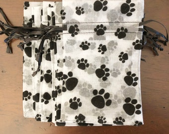 1 Black Flocked Paw Prints on White SHEER Organza Gift Bag Pouch CHOOSE SIZE