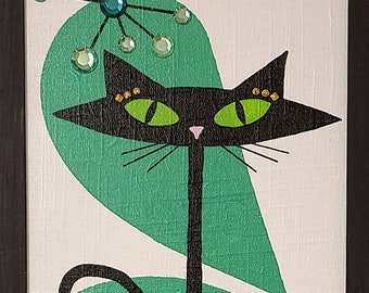 Bejeweled Mid Century Atomic Cat with Green and White background
