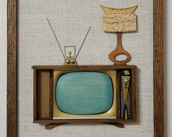 Mid Century Inspired Retro TV Set Wood Art on Linen Panels