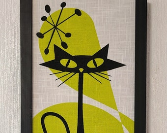 Mid Century Atomic Cat with Green Chartreuse  and White background