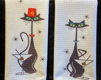 Mid Century Modern Atomic Martini Cat towels