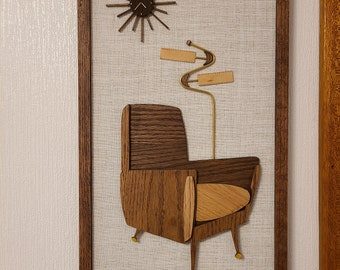 Mid Century Inspired Wood Art on Linen Panels