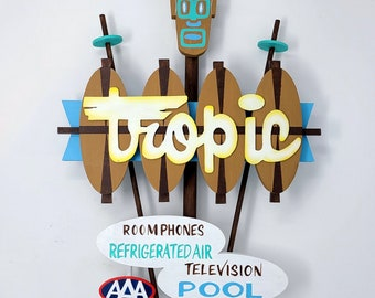 Tiki Sign,  Tropic Retro hand painted MINI HANDMADE sign. Tabletop Wood sign rustic, handpainted.
