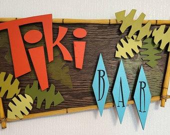 Tiki Bar Sign,  Tropic Retro hand painted HANDMADE sign.  Wood sign handpainted.