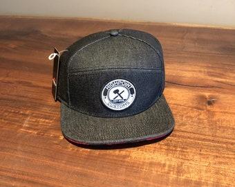 Black Denim and Plaid Hat