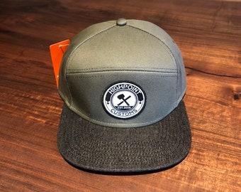 Olive Green & Black Denim Hat