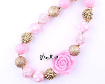 Girls Chunky Necklace- Baby Chunky Necklace- Girls jewelry-baby jewelry-Pink and gold chunky Necklace-cake smash-first birthday